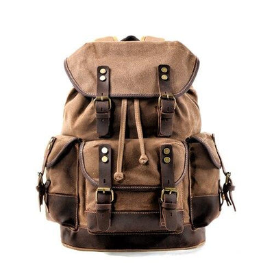 top goldman Loreto Canvas Waterproof Travel Backpack Khaki