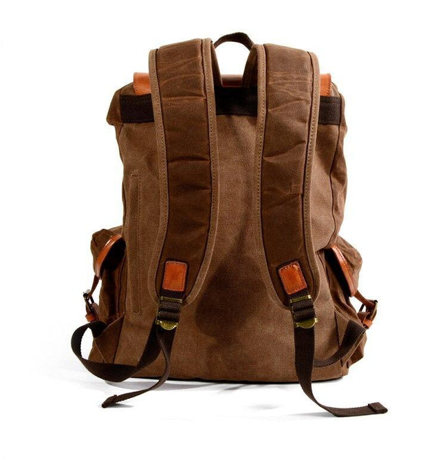 top goldman Lucca Canvas Waterproof Leather Backpack 1