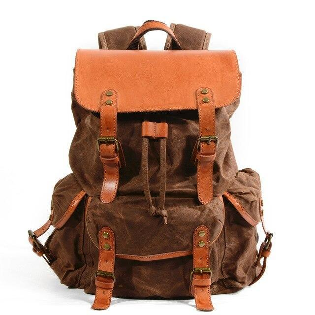 top goldman Lucca Canvas Waterproof Leather Backpack 2