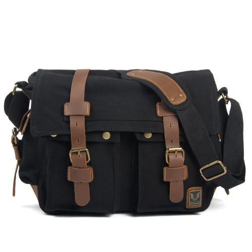 top goldman Merano Canvas Leather Messenger Bag Black