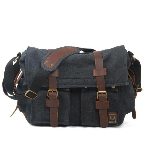 top goldman Merano Canvas Leather Messenger Bag Carbon black color