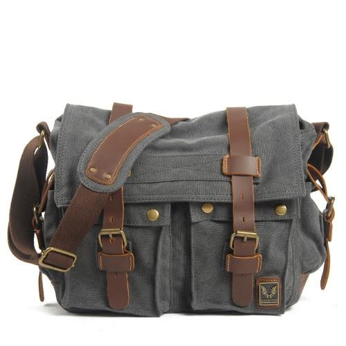 top goldman Merano Canvas Leather Messenger Bag Dark Grey