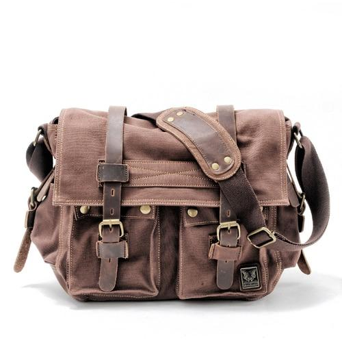 top goldman Merano Canvas Leather Messenger Bag Deep coffee