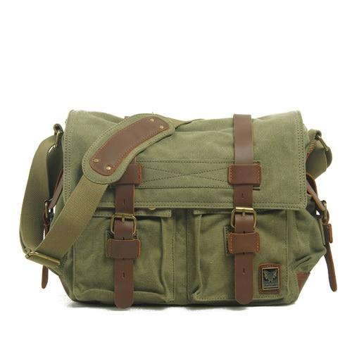 top goldman Merano Canvas Leather Messenger Bag Green
