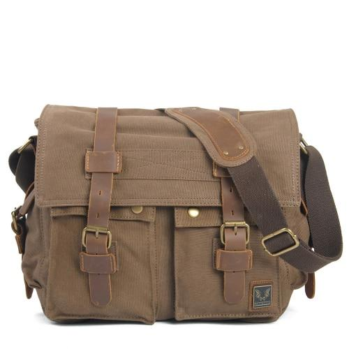 top goldman Merano Canvas Leather Messenger Bag Light coffee