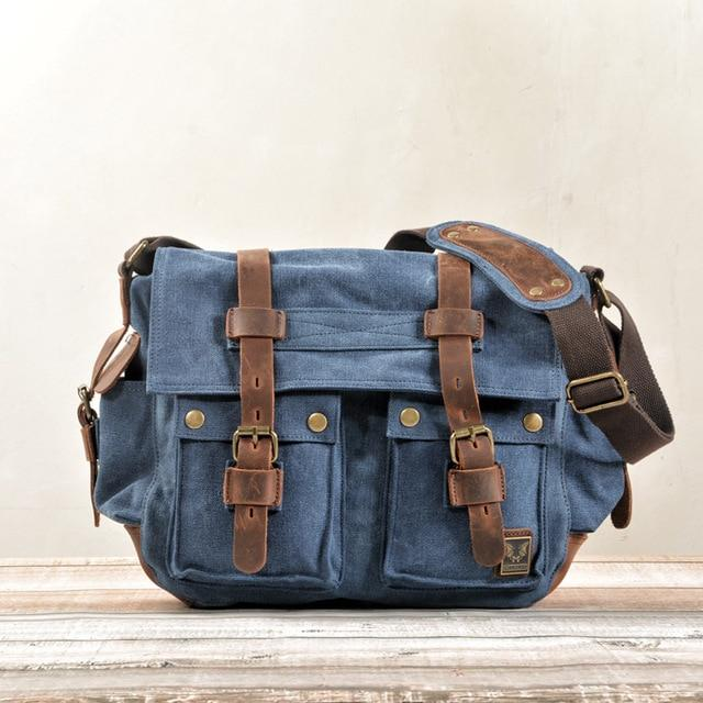 top goldman Merano Canvas Leather Messenger Bag Royal Blue