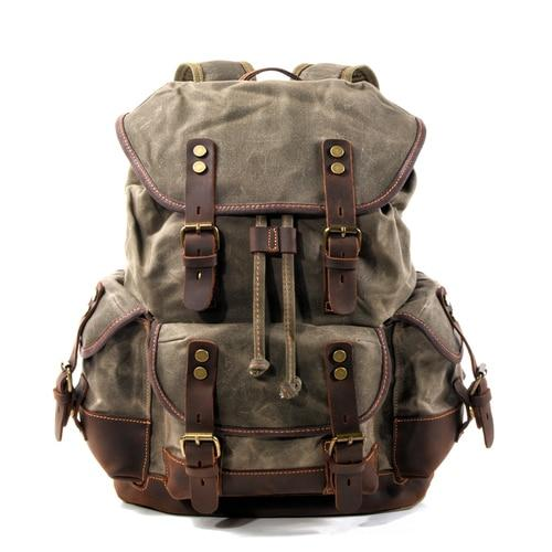 top goldman Merano Canvas Travel Backpack Army Green