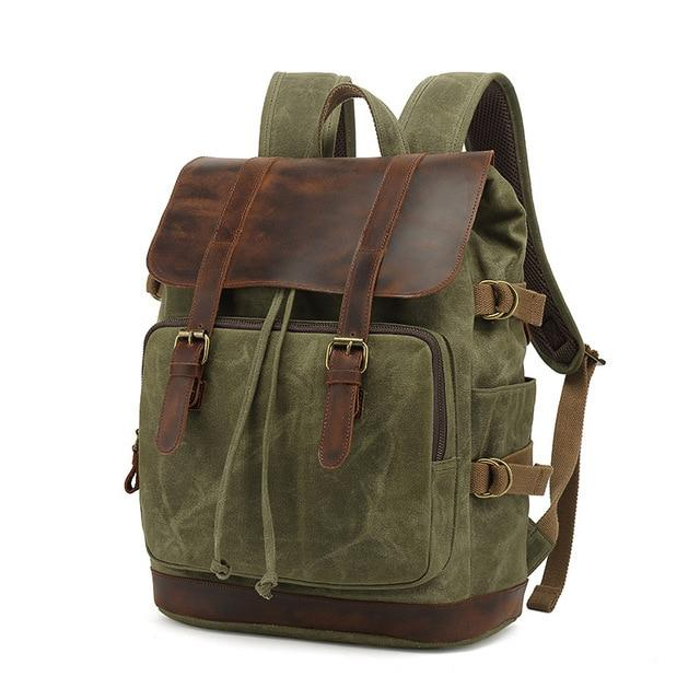 top goldman Milazzo Canvas Leather Waterproof Travel Backpack army green