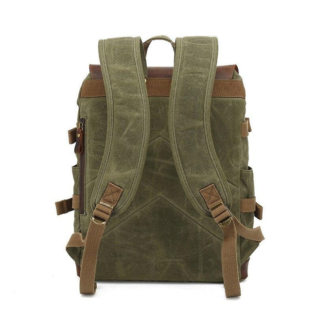 top goldman Milazzo Canvas Leather Waterproof Travel Backpack gray