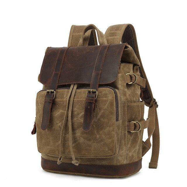 top goldman Milazzo Canvas Leather Waterproof Travel Backpack khaki