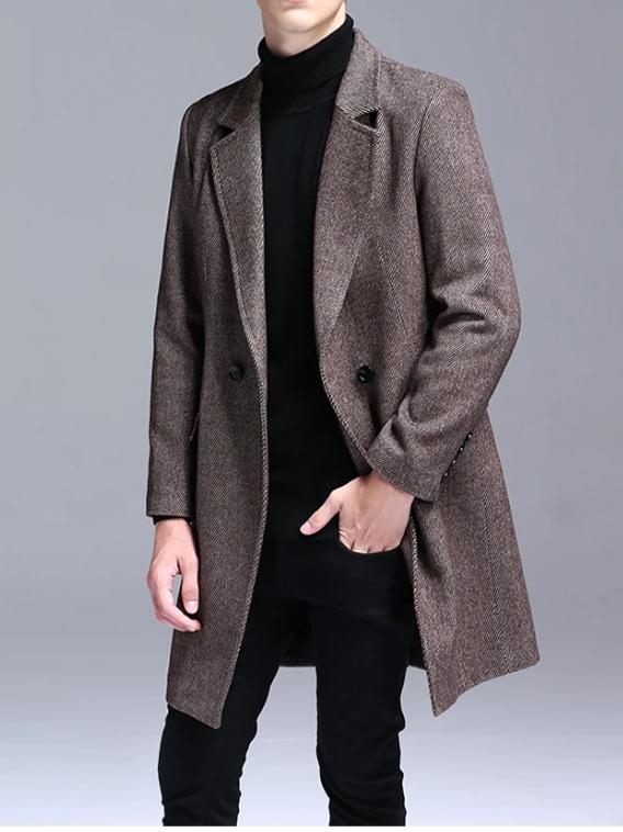 Modena Long Wool Coat overcoats for men Black XXL
