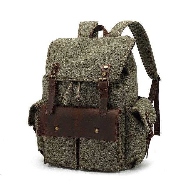 top goldman Modica Canvas Leather Backpack army green