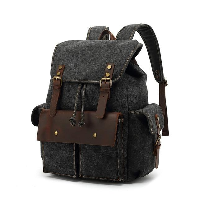 top goldman Modica Canvas Leather Backpack black