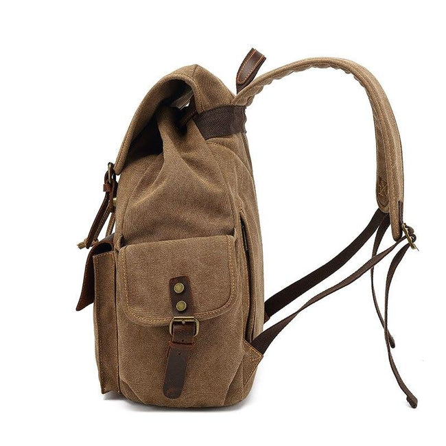 top goldman Modica Canvas Leather Backpack gray
