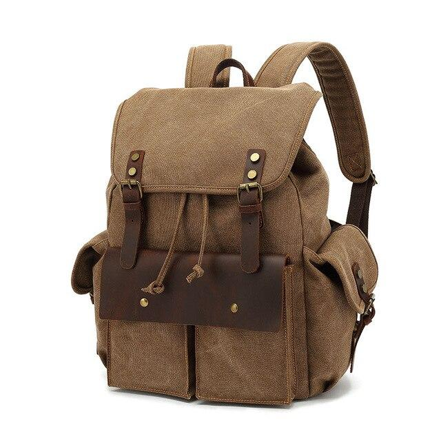 top goldman Modica Canvas Leather Backpack khaki