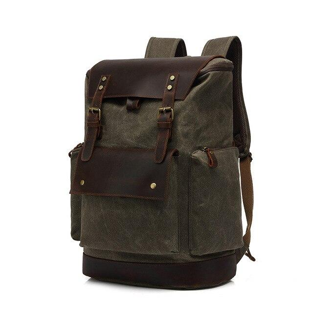 top goldman Modica Canvas Leather Travel Backpack army green