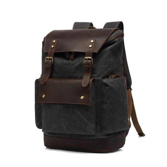 top goldman Modica Canvas Leather Travel Backpack black