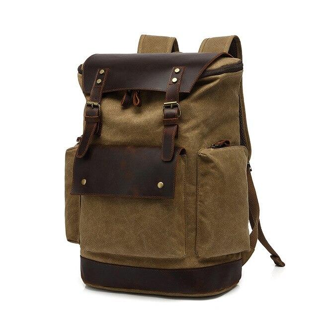 top goldman Modica Canvas Leather Travel Backpack khaki