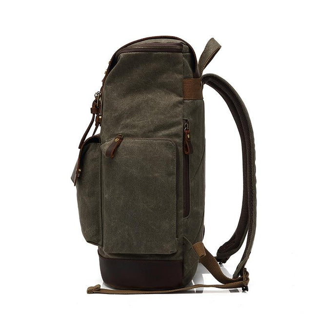 top goldman Modica Canvas Leather Travel Backpack lake green