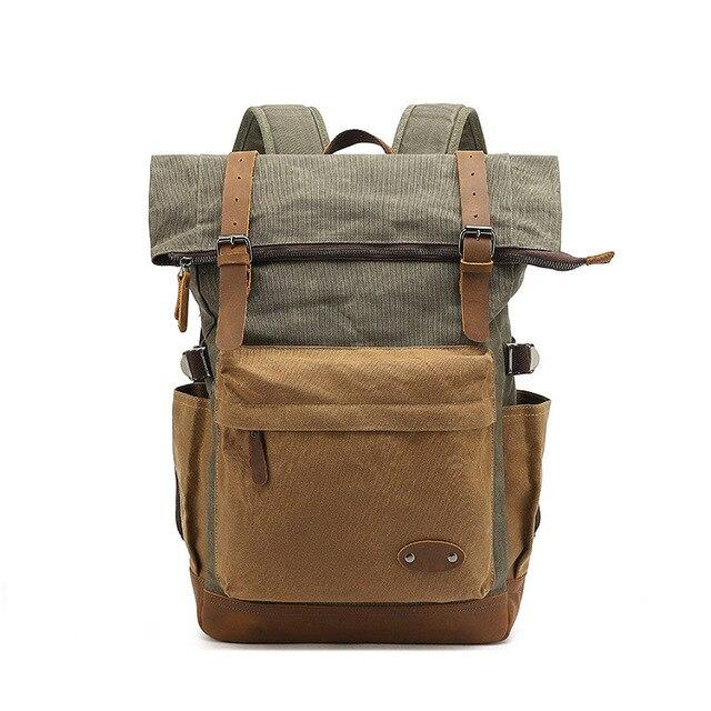 top goldman Mondovì Canvas Leather Backpack army green
