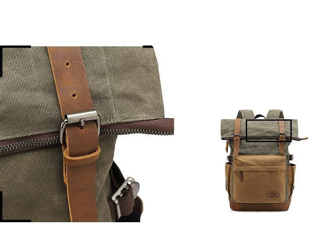 top goldman Mondovì Canvas Leather Backpack coffee