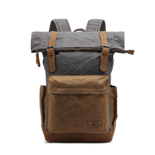 top goldman Mondovì Canvas Leather Backpack gray