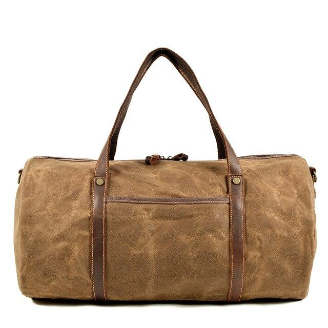top goldman Orvieto Canvas Waterproof Travel Bag Khaki