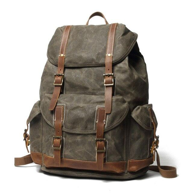 top goldman Otranto Canvas Waterproof Travel Backpack army green