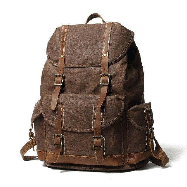 top goldman Otranto Canvas Waterproof Travel Backpack coffee