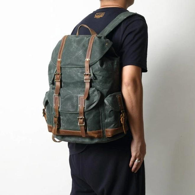 top goldman Otranto Canvas Waterproof Travel Backpack dark grey