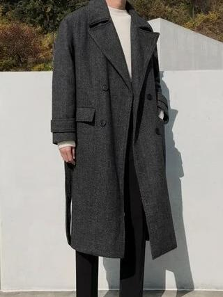 Otranto Long Wool Coat overcoats for men Black M
