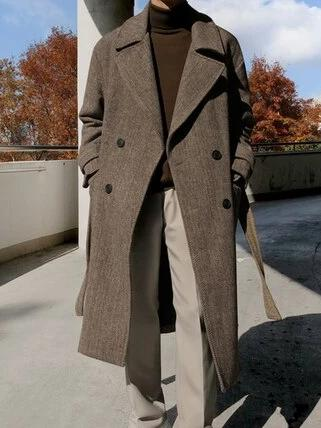 Otranto Long Wool Coat overcoats for men Dark Brown XL