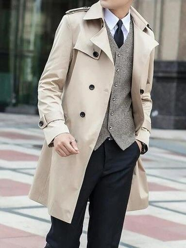 Palermo Windbreaker Double Breasted Coat overcoats for men Beige M