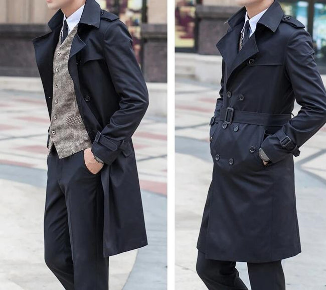 Palermo Windbreaker Double Breasted Coat overcoats for men black S