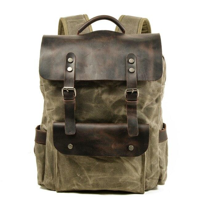 top goldman Perugia Canvas Waterproof Travel Backpack Army Green