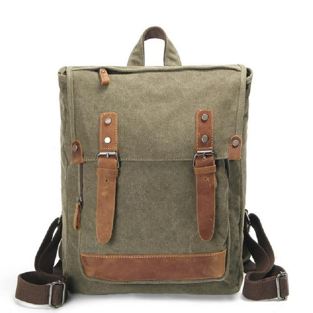 top goldman Pesaro Canvas Leather Backpack Army Green