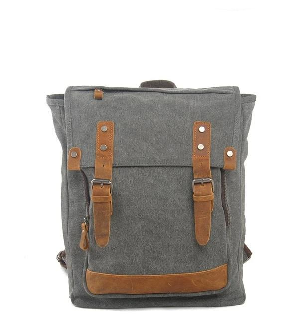 top goldman Pesaro Canvas Leather Backpack Gray