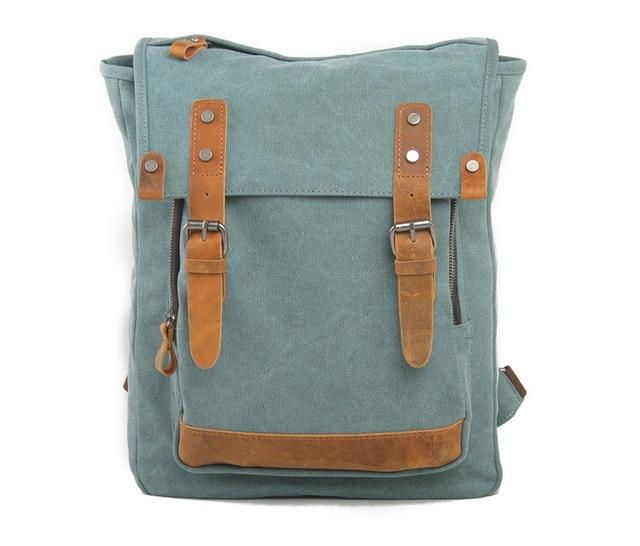 top goldman Pesaro Canvas Leather Backpack Lake Green