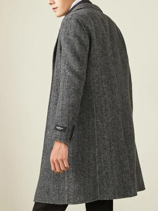 Pesaro Wool Coat overcoats for men Black Gray XXXL