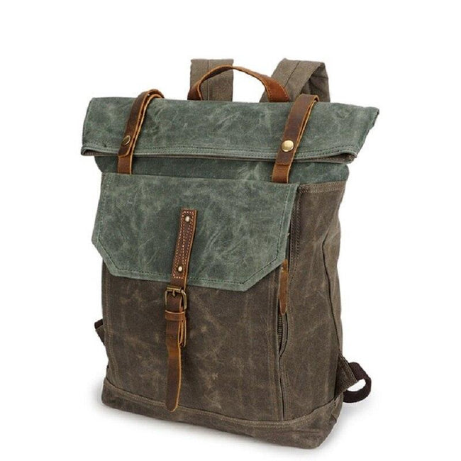 top goldman Piceno Canvas Waterproof Travel Backpack army green