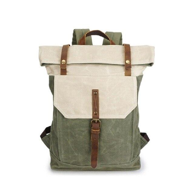 top goldman Piceno Canvas Waterproof Travel Backpack beige