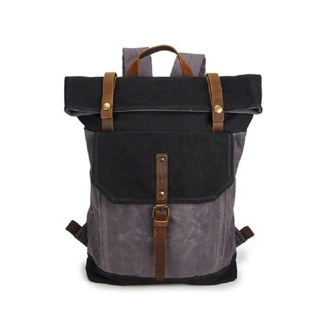 top goldman Piceno Canvas Waterproof Travel Backpack black