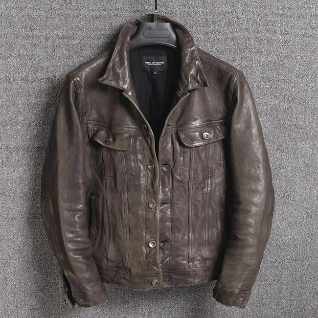 TOPGOLDMAN-Piceno Vintage Real Leather Jacket-biker jacket-Brown L