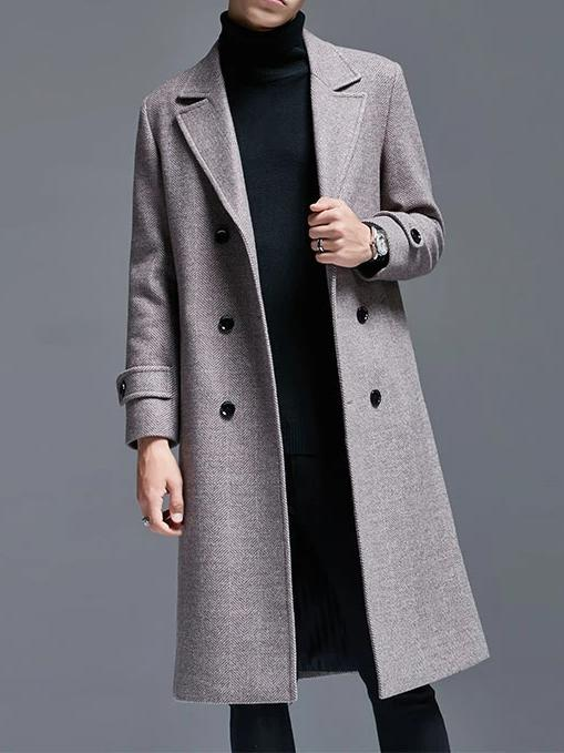 Portici Double Breasted Wool Coat overcoats for men Coffee L