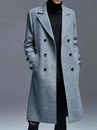 Portici Double Breasted Wool Coat overcoats for men Gray S