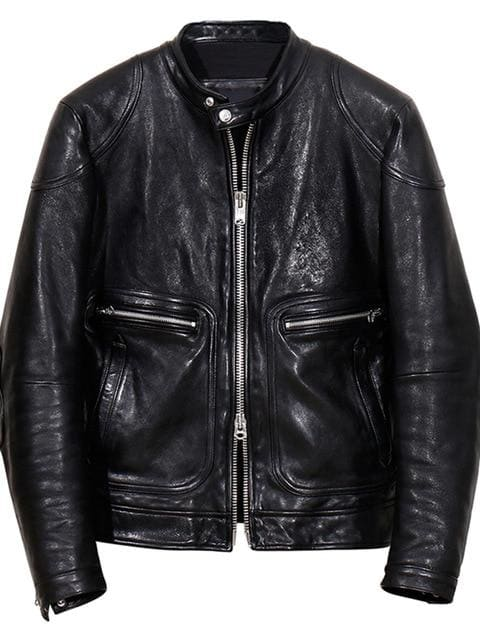 Oil wax tanning genuine leather jacket