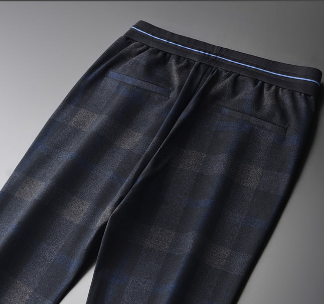 Yarn-dyed Plaid Combined Fabric Elastic Waist Trousers