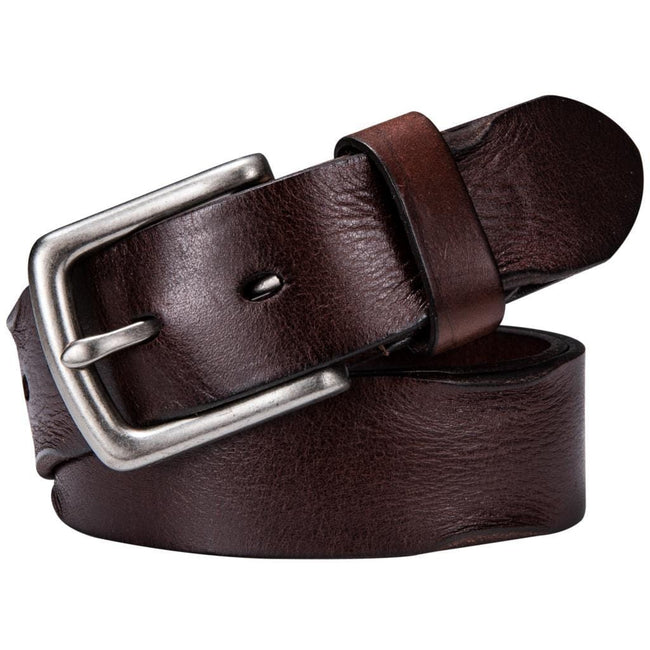 Genuine Leather Brown Pin Buckle Belt