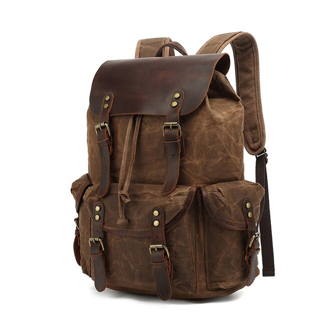 Agrigento Men's Canvas Waterproof Travel Leather Backpack