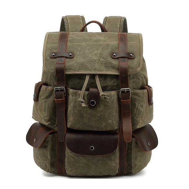 Taranto Men's Canvas Waterproof Leather Travel Backpack
